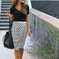 """Stripe skirt Body con midi skirt. Elastic waistband for easy pull on. Asymmetrical drape at front. Allover striped print. Hand wash. Imported.  *Model is 5'9"""" wearing a size small. Bust 32"""" Waist 25"""" Hips 34"""". Swell Skirts"""
