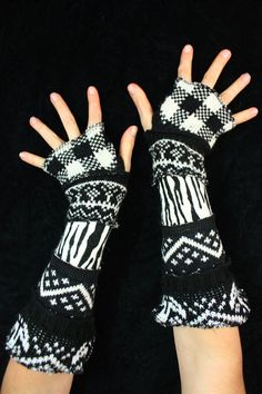 Here is a great pair of arm warmers made from bits of recycled knits. They have a rich palette of bold black and white patterns.   Enjoy!  ************************************************************************************************************  About Katwise Sweaters:  I started making recycled patchwork hoodies 20 years ago, while I was a wee gypsy girl, following the Grateful Dead. Since then my style has evolved and grown into this etsy maddness. I have made thousands and thousands of…