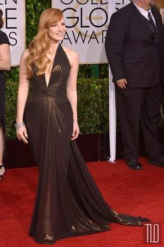 Jessica Chastain. Versace. golden globes 2015