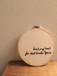 this is a custom made embroidered hoop with a personal design created by randi. the phrase break my heart for what breaks yours is from a song called hosanna by hillsong united.   || a b o u t t h e p r o d u c t ||  - 8 wooden hoop - hand-stitched - canvas fabric - black thread   || p e r f e c t f o r ||  - home decor - gift   || c u s t o m i z e ||  - custom orders always available!   || s h o w s o m e l o v e ||  - click on the <3 icon and save as a favorite! - add to cart to…