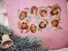 Antique French die cut chromos with angels heads, Victorian era die cut chromo angels, antique set of Christmas angels in paper, early 1900 by villavillacolle on Etsy Antique Christmas Decorations, Vintage Christmas Ornaments, Christmas Angels, Edwardian Era, Victorian Era, French Fabric, Christmas Postcards, Fabric Boxes, Popular Art