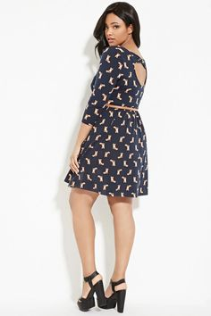 Plus Size Belted Fox Print Dress | Forever 21 PLUS #forever21plus