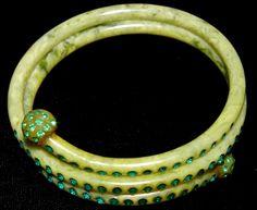 Green Rhinestone Inlaid Marbled Bakelite Lucite Coil Snake Bracelet