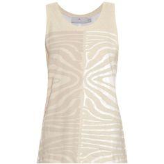 Adidas By Stella McCartney Zebra-print mesh-panel jersey tank ($25) ❤ liked on Polyvore featuring tops, ivory multi, animal print tank, jersey tank top, pink top, animal print tank top and pink tank