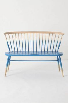 """""""Windsor Love Seat"""" blue-ombre lacquered bench - designed by Ercol in inspired by the traditional silhouette of the Windsor chair"""