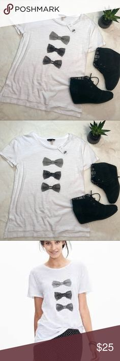 Banana Republic Bow Tie Graphic Tee Brand New With Tags, size XS Loose fit, would easily fit a small Banana Republic Tops Tees - Short Sleeve