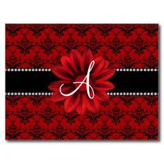 Monogram red damask daisy flower postcards