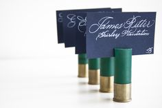 I can't believe we didn't think of this at our wedding!! Shot gun shells! :: Place Card vs. Escort Card | Wedding Stationery | Fête Studio