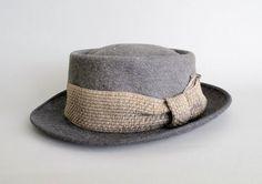 Vintage 1950s MENS Hat  50s Grey Pork Pie Fedora by RaleighVintage, $48.00