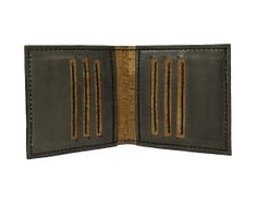 8 pockets bifold gray leather wallet with cork by mispWorkshop, $80.00