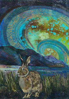 Crouching Hare by Rachel Wright. Art Quilt with embroidery.
