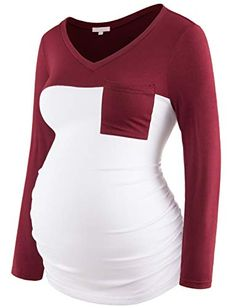 Bhome Maternity Shirts Long Sleeve V Neck Tops Color Block Pregnancy Clothes for Women Funny Pregnancy Shirts, Pregnancy Clothes, Babies Clothes, Clothes For Women, Cute Maternity Outfits, Top Colour, Color, Ball Dresses, V Neck Tops