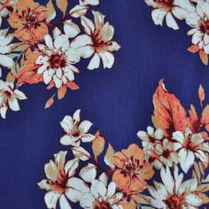Bold Floral Rayon Crepe Navy/Coral - Fabric - Style Maker Fabrics