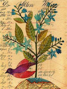 #birds #flowers Beautiful artwork by Geninne D. Zlatkis