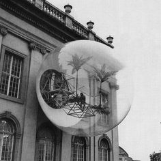 [Oase No. 7 (1972) by the group Haus-Rucker-Co, which was created for Documenta 5 in Kassel, Germany. An inflatable structure emerged from the façade of an existing building creating a space for relaxation and play]