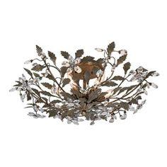 "250 - poss bedroom?Pewter Leaf Six Light 26"" Wide Ceiling Fixture | LampsPlus.com"