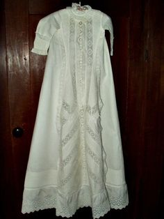 Antique Victorian 1890 Infant Baby Christening Gown Dress - www.the-gatherings-antique-vintage.net