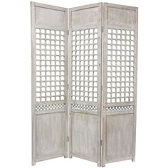 "Oriental Furniture 69.5"" x 51.75"" Open Lattice 3 Panel Room Divider"