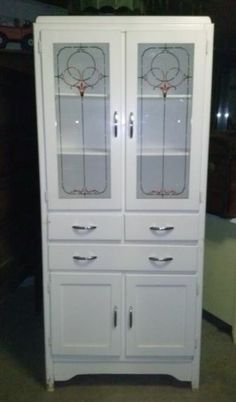 Antique Hoosier China Cabinet 1950s Style Metal Cupboard Kitchen Repainted