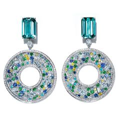 Tourmaline and Diamond Platinum Earrings by Tiffany & Co. Jewelry Model, High Jewelry, Stylish Jewelry, Luxury Jewelry, Bling Bling, Dior Ring, Platinum Earrings, Tourmaline Jewelry, Schmuck Design