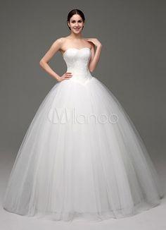 Tule Ball vestido/princesa Sweatheart Strapless vestido de noiva com corpete de renda - Milanoo.com
