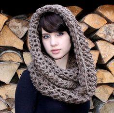 The Favorite Cowl neck Hood scarf wool warmer Bark Brown