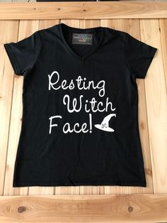 a73a71ad2208 Resting Witch Face Halloween V Neck Womans Black by MyThreeC Witch Face