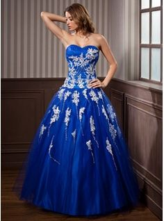 Ball-Gown Sweetheart Floor-Length Tulle Quinceanera Dress With Lace Beading (021020924)