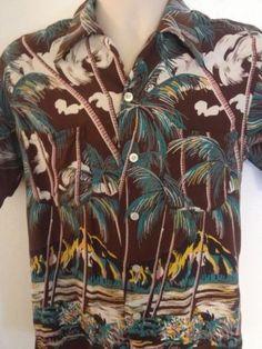Duke Kahanamoku 1940's Hawaiian Shirt 15-15.5 Pearl Buttons Medium Rayon Rare