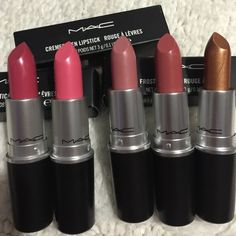 Authentic Mac lipsticks 5 for $66 New in box ( color speak louder ,pink pearl pop, Angel, fanfare and bronze shimmer ) all my make up is authentic, check my feedback before purchase, i have over 100 love notes ❤️thanks for looking and happy shopping MAC Cosmetics Makeup Lipstick