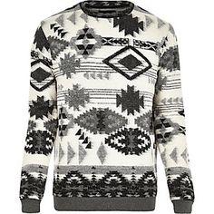 Grey geometric jumper