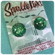 $30.00 USD SparkleLux Confetti Lucite Domed Round Earrings in Tiki Green Iridescent