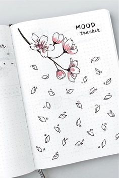 Mood tracker Whether you want to change the look of your bujo or just add some cute decoration to a single spread, these adorable cherry blossom themed bullet journal ideas will give you the inspiration you need! Bullet Journal Tracker, Bullet Journal School, Bullet Journal Disney, Bullet Journal Headers, Bullet Journal Lettering Ideas, Bullet Journal Banner, Bullet Journal Notebook, Bullet Journal Spread, Bullet Journal Ideas Pages