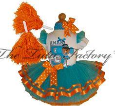 MIAMI Cheerleader Tutu Set . Turquoise Orange Tutu