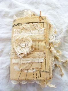 Vintage revista basura mixta arte libro manoseado libro Smash coser puntada moda Scrapbook Shabby alterado diario