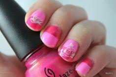 Pinks. China Glaze - Bottoms Up / China Glaze - Strawberry Fields / MoYou London - Biker Collection 08 / Konad - White