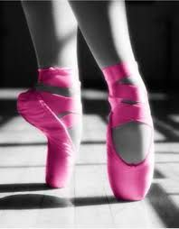 Bright pink pointe shoes!