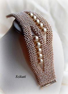 Wulstige Beige Samen Perlen Perle Manschette Armband