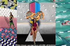 Mare di Moda 2016 fabric predictions: This swimwear celebrates the humour and kitsch of the 1980s. This is overtly, even exaggeratedly sporty and performance oriented swimwear, so racy shapes, streamlining trims and bold colour blocking is used alongside ergonomic designs.