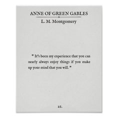 Anne of Green Gables - Book Page Quote - Enjoy It Poster   Zazzle.com