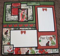 Graphic 45 Layout - Christmas - Double Page Scrapbook - Christmas Scrapbook Layouts, Scrapbook Page Layouts, Scrapbook Paper Crafts, Photo Layouts, Scrapbooking Ideas, Scrapbook Journal, Scrapbook Cards, Couple Scrapbook, Scrapbook Albums