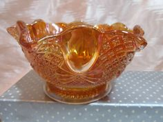Sowerby antique Carnival Glass Bowl England Ruffled Edge, 6 1/2 Inch, Orange