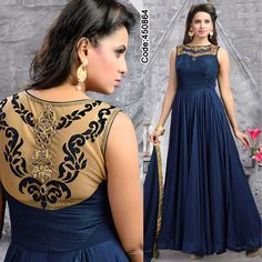 Go bold in this ravishing #blue #silk #gown!    #Volume #Layers #Embroidery #Designer #Occasion #IndianDresses #Partywears #Indian #Women #Bridalwear #Fashion #Fashionista #OnlineShopping #EveningGown