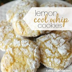 These Lemon Cake Mix Cookies are delicious! Just 4 ingredients to make Lemon Crinkle Cookies. You'll love this recipe for lemon cookies using a cake mix! Cool Whip Cookies, Lemon Cake Mix Cookies, Lemon Crinkle Cookies, Lemon Cake Mixes, Yummy Cookies, Sugar Cookies, Holiday Baking, Christmas Baking, Merry Christmas