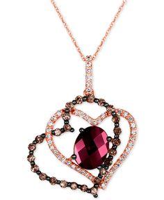 Le Vian Chocolatier® Raspberry Rhodolite® Garnet (2-1/4 ct. t.w.), Chocolate Diamonds® and Vanilla Diamonds® (3/4 ct. t.w.) Heart Pendant Necklace in 14k Strawberry Gold® - Le Vian Shop - Jewelry & Watches - Macy's
