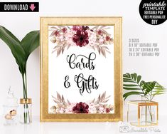 Marsala Wedding Cards and Gifts Sign Table Decor Bohemian Burgundy Bordo Red Watercolor Poster Blush Floral Flower DIY PDF PSD Digital Garde by HandmadeIncredible on Etsy