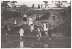 Children play at the site of the original Bull Well in Bulwell the site is at moorbridge near the tram stop Children Play, History Photos, Nottingham, Old Pictures, Family History, Genealogy, Kids Playing, Growing Up, Pond