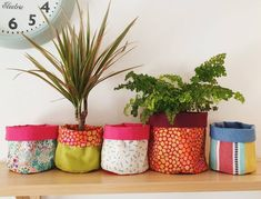 Give your houseplant a cosy new home inside a handmade fabric planter. These pots are perfect to add a bit of colour to your shelves or windowsills, and also make a super little gift for a plant-loving friend.There will be more of these coming soon with a range of gorgeous fabrics to complement your plants.Two sizes available:10cm diameter, 13cm high14cm diameter, 15cm highI am happy to make custom sizes, just send me a message.The top folds down to a suitable height for your pot.They can… Pot Lids, Gorgeous Fabrics, Houseplant, Window Sill, Little Gifts, Potted Plants, Cotton Canvas, Cosy, Print Patterns