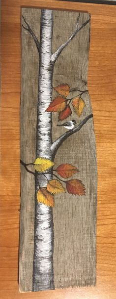 Little bird and Birch tree painted on barn wood