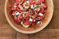 Tomato and Watermelon Salad from Simply Zov: Rustic Classics with a Mediterranean Twist cookbook